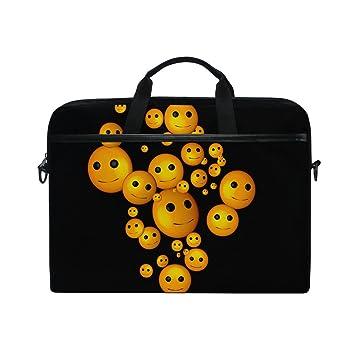 Ahomy - Bolsa de Ordenador portátil de 15 a 15,4 Pulgadas, emoticonos Smilie de Tela para portátil con Correa para el Hombro para Mujeres y Hombres: ...