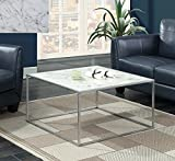 Convenience Concepts 413482S Gold Coast Faux Marble Coffee Table, Faux Marble/Silver