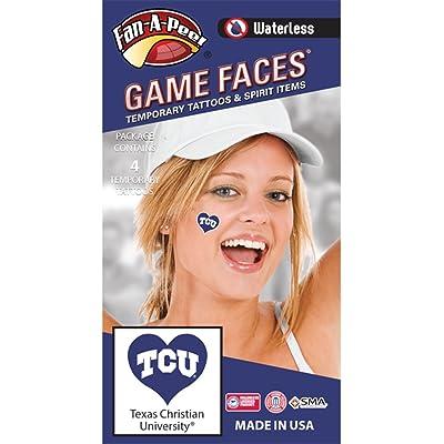 Texas Christian University (TCU) Horned Frogs – Waterless Peel & Stick Temporary Spirit Tattoos – 4-Piece – White TCU Logo on Purple Heart