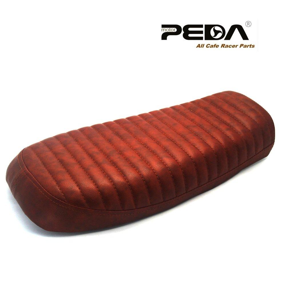 PEDA Brown B Flat Seat Cafe Racer Seat Retro Locomotive Refit Motorcycle Saddle Seats Vintage Leather Waterproof