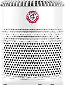 Arm & Hammer® AH510W Compact Table Top Air Purifier With ALLERGEN DEFENSE™ 3-IN-1 360° Surround True HEPA Triune Filtration System– Pearl White