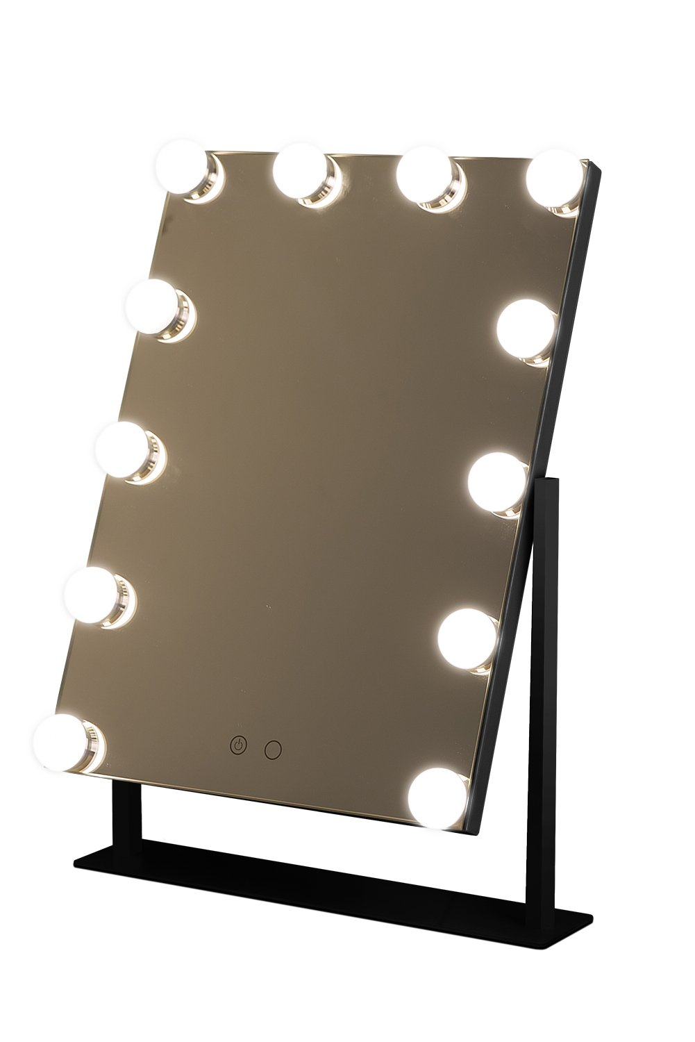 Geek-House Large Frameless Hollywood Tabletops Lighted Makeup Vanity Mirror (12 LED Bulb) with Dimmer Angle-Adjustable Black