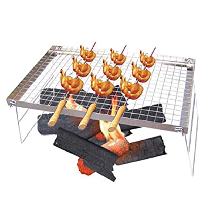 Stainless Steel Barbecue Grill, Portable Foldable Charcoal Barbecue Table for 3-5 People Outdoor Garden Party: Garden & Outdoor
