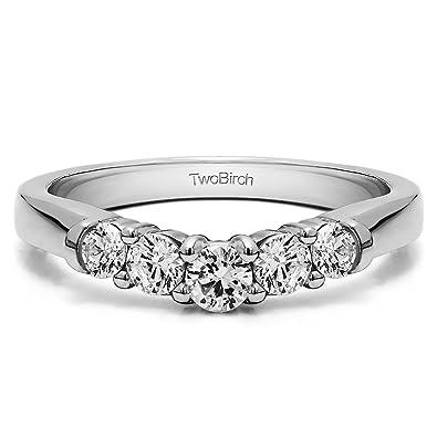 Amazon Com Diamonds G H I2 I3 Contoured Wedding Ring In Sterling