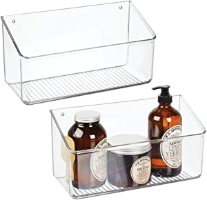 mDesign Wall Mount Plastic Home Storage Organizer Holder Basket - Hanging Bin Shelf for Walls/Doors in Entryway, Mudroom, Bedroom, Bathroom, Office, Laundry, Kitchen, Pantry, Large, 2 Pack - Clear