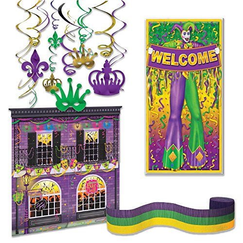 Mardi Gras Party Supplies Decoration Kit - Door Cover, Streamer, Handing Decor