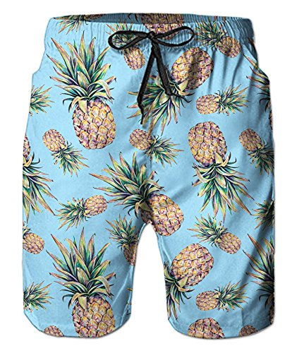 Belovecol Quick Dry Shorts for Men Fruit Pineapple Graphic Cool 3D Print Popular Swim Trunks XL