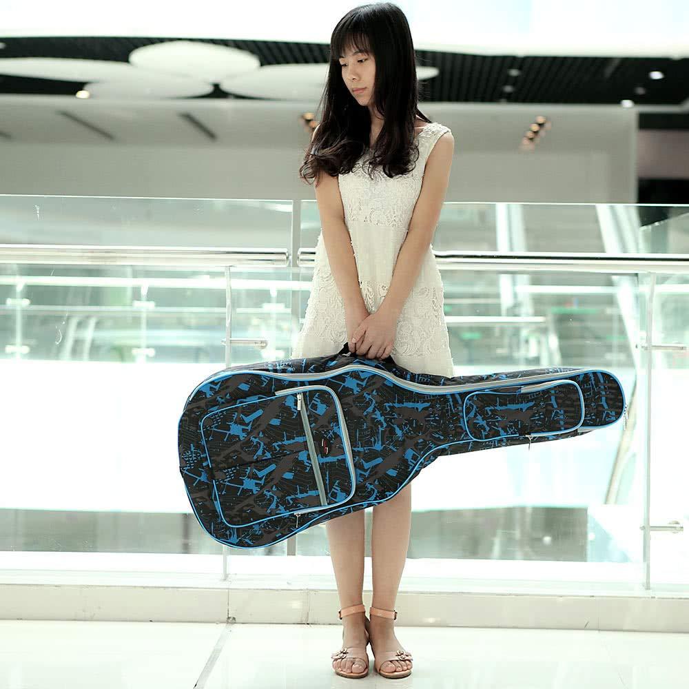 Doolland 600D Tela Oxford resistente al agua Camuflaje Azul Correas acolchadas de doble costura Bolsa de transporte Funda de guitarra para guitarra ac/ústica cl/ásica ac/ústica de 40 pulgadas