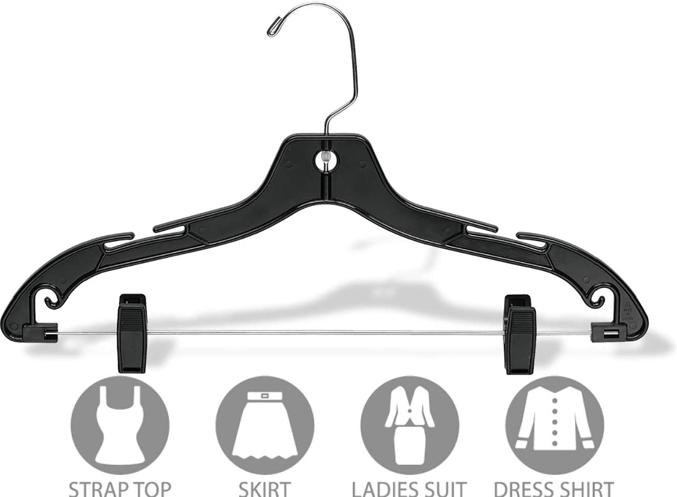 Extra Strong 1//2 Inch Thick Hangers with 360 Degree Chrome Swivel Hook for Jacket or Uniform Box of 25 The Great American Hanger Company Heavy Duty Clear Plastic Coat Hanger,