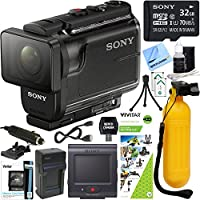 Sony HDRAS50R/B Full HD Action Cam + Live View Remote & Outdoor Action Kit Bundle