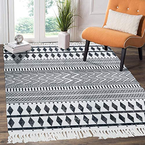 HEBE Cotton Area Rug 4 x 6 Machine Washable Large Hand Woven Black and White Cotton Rug