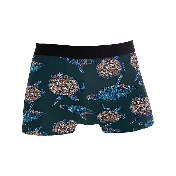 ZZKKO Sea Turtle Mens Boxer Briefs Underwear Breathable Stretch Boxer Trunk with Pouch S-XL