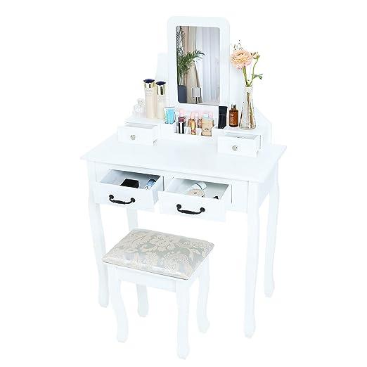 Trustiwood - Mesa tocador con espejo y taburete de maquillaje ...