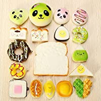 New 18PCS Random Squishy Panda Sandwich Toasts Buns Donuts Squishy Soft Cell Phone Straps By KTOY