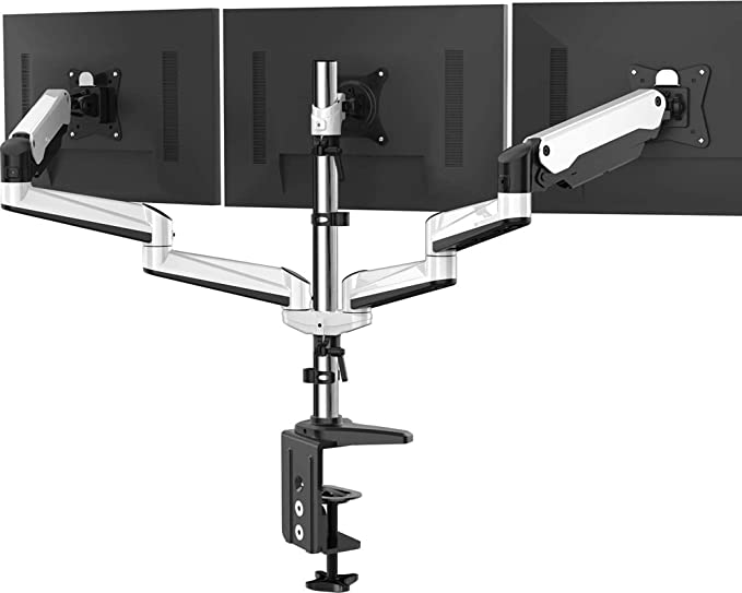 Amazon.com : Triple Monitor Stand - Full Motion Articulating Aluminum Gas Spring Monitor Mount Fit Three 17 to 32 inch LCD Computer Screens with Clamp, Grommet Kit : Office Products