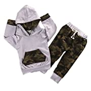 Newborn Infant Baby Boy Girls Camouflage Clothes Hooded T-shirt Tops+Pants Outfits, Camo Gray (0-6 Months)