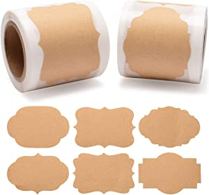 Cualfec Kraft Paper Tag Stickers Blank Labels for Christmas Package, Mason Jars, Bottles, Candle Containers 2
