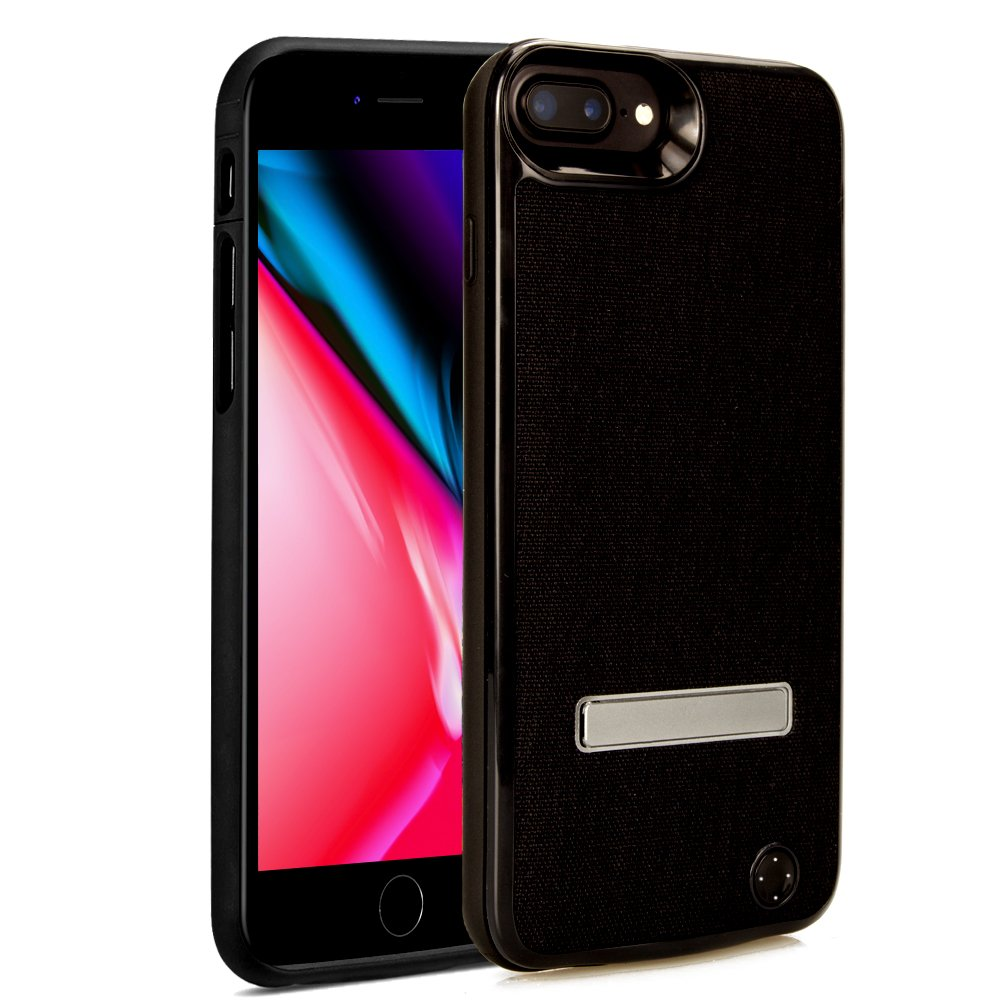 iPhone 7 Battery Case, Techkey Ultra Slim Charging Case 2800mAh Battery Pack Power Bank Charger Case Backup Battery Cover with Phone Holder for iPhone7/iPhone 6S/iPhone 6 (Black)