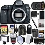 Canon EOS 6D Mark II Wi-Fi Digital SLR Camera Body with EF 24-70mm f/2.8 L II USM Lens + 64GB Card + Backpack + Flash + Video Light Kit