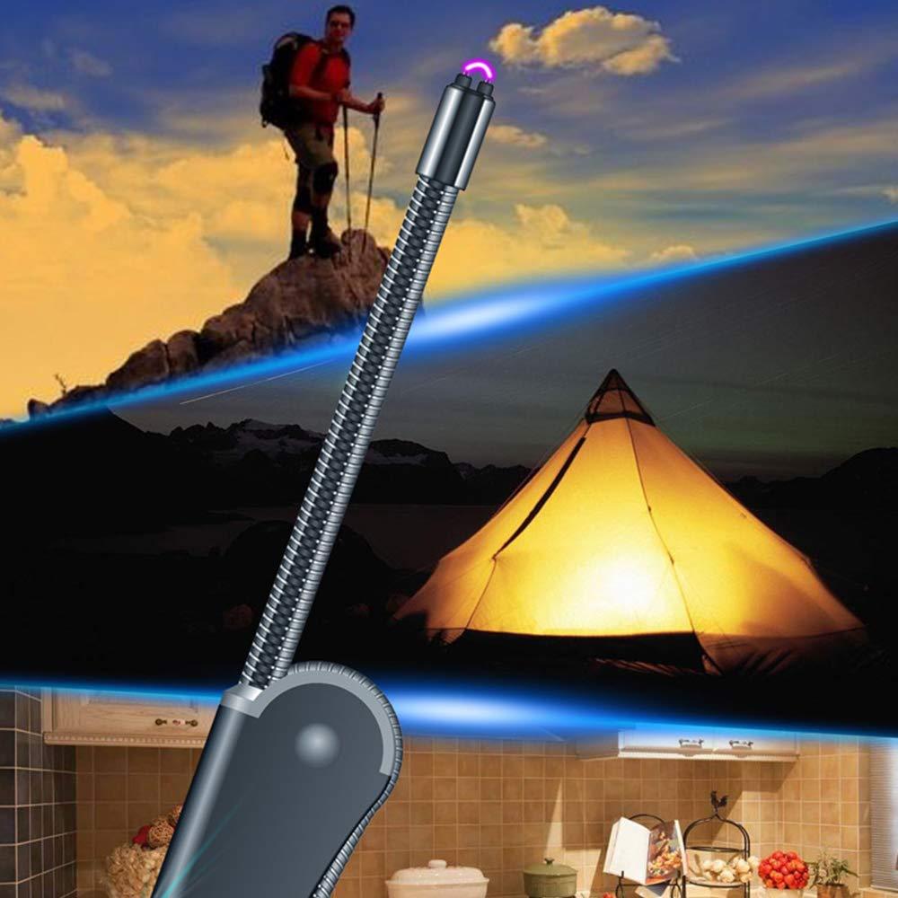 Lixada Mechero Electrico USB Recargable Antiviento Arco Sin Llama Plegable Tubo Blando Accesorios para Fumar
