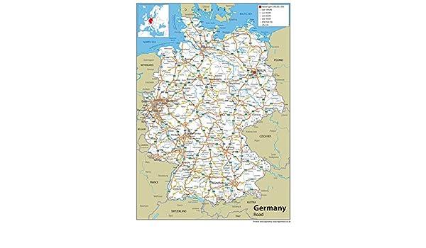 Alemania Carretera mapa – LAMINADO de papel, A1 Tamaño, 59,4 x 84,1 cm: Amazon.es: Oficina y papelería
