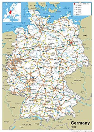 Germany Road Map - Vinyl - A0 size 84.1 x 118.9 cm: Amazon.co.uk ...