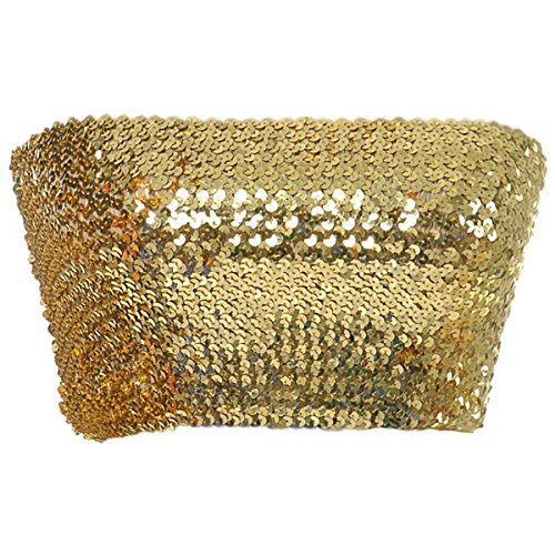 Anna-Kaci Womens Shiny Sequin Party Cropped Strapless Bandeau Stretch Tube Top, Gold, -