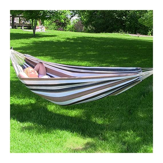 Sunnydaze Brazilian Double Hammock, 2 Person Portable Bed - for Indoor or Outdoor Patio, Yard, and Porch (Calming Desert) - GRAND SIZE: Large hammock is 125 inches long x 60 inches wide. Bed size is 80 inches long x 60 inches wide with a 450 pound capacity, making it a cozy two person hammock. DURABLE AND STURDY: Tied rope loops knotted specifically for durability and strength; U-shaped support for holding hammock in place safely and tightly woven colorfast cotton. COMFORT AND RELIABILITY: Heavy duty hammock features tightly woven colorfast cotton for extra comfort and relaxation. The freestanding hammock is perfect to hang on a tree, between poles, or a Sunnydaze stand (sold separately). - patio-furniture, patio, hammocks - 61Tf0bD%2BLFL. SS570  -