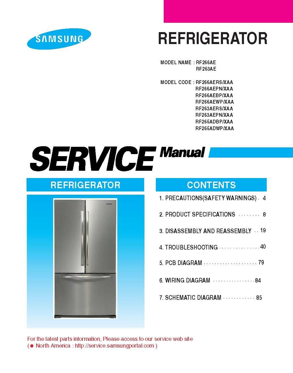 Download free pdf for samsung rf266aepn refrigerator manual.