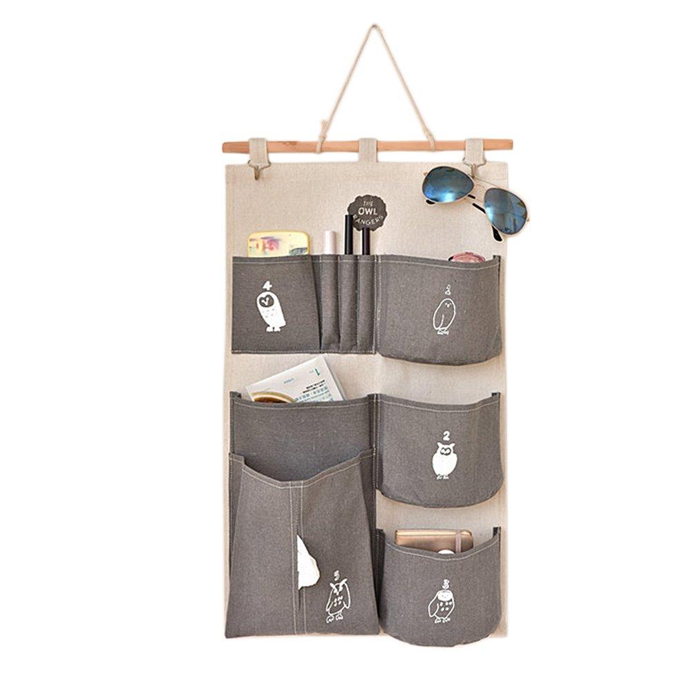 Algodón lino decorativo casa organizador pared puerta bolsa titular armario colgante caso de almacenamiento bolsa con ganchos gris Gosear