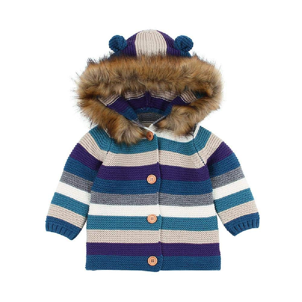 BCVHGD Baby Girl Winter Sweater Cardigans Clothes Stripe Boys Fur Jackets Coats Toddler Infant Knitted Top