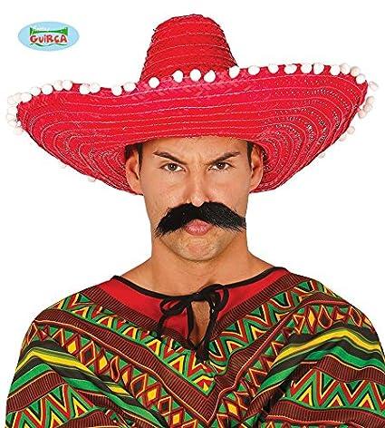 Guirca 13650 - Sombrero Mexicano Paja 50 Cms. Rojo  Amazon.es ... 657dce28c07