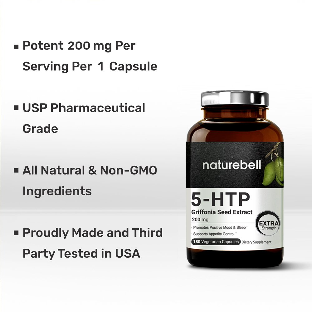 Maximum Strength 5-HTP 200 mg, 180 Veg Capsules, Griffonia Seed Extract, Promotes Positive Mood & Sleep, Non-GMO, Made in USA, Vegan Friendly