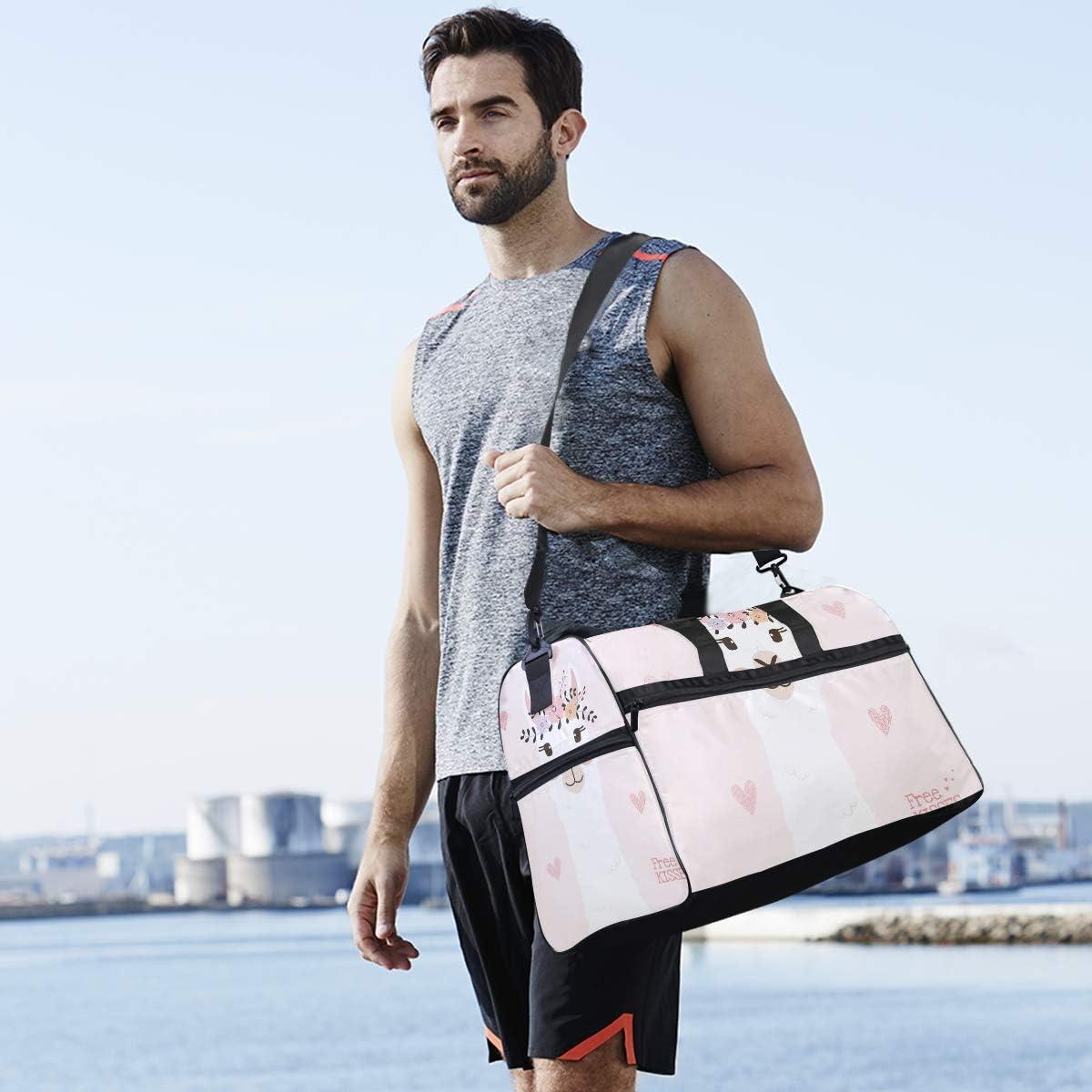 Travel Duffels Cute Llama Head With Flower Crown Duffle Bag Luggage Sports Gym for Women /& Men