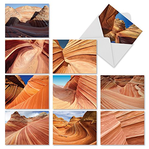 Canyon Greeting Cards - M1730BN Carved In Stone: 10 Assorted Blank All-Occasion Note Cards Feature Color Photographs of Dramatically Rock Formations, w/White Envelopes.