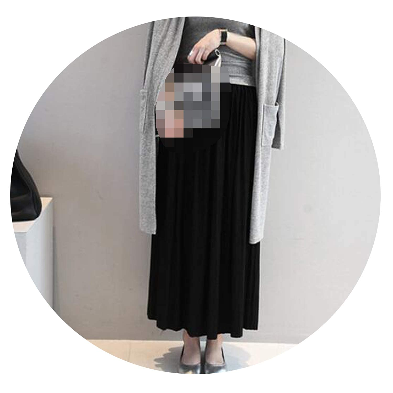 0b3a45b8d0dc Amazon.com: Autumn Winter Cotton Elastic High Waist Maxi Skirts Vintage  Pleated Long Skirt,Black,One Size: Clothing