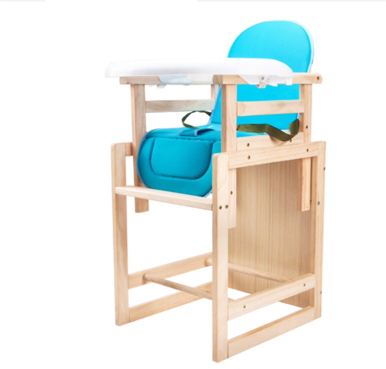 取り外し可能なプレイテーブルハーネスのピンクアセンブリが付いている1つの赤ん坊の木の高い椅子に付き3つ  Blue B07TJX65Y4