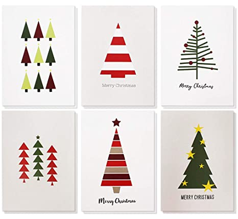 Christmas Greeting Images.48 Pack Merry Christmas Greeting Cards Bulk Box Set Winter Holiday Xmas Greeting Cards With Cute Christmas Tree Illustrations Envelopes Included
