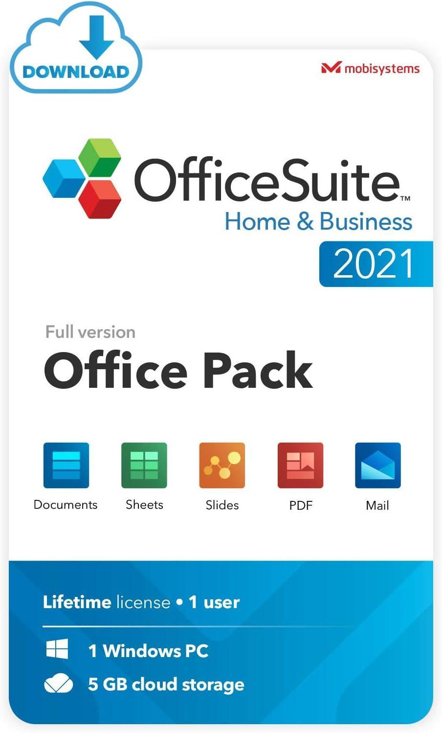 OfficeSuite Home & Business 2021 - Lifetime License - Documents, Sheets, Slides, PDF, Mail & Calendar for Windows [PC Online code]