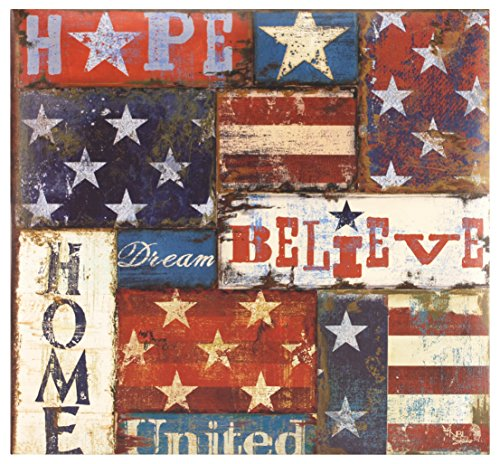 MCS MBI 13.5x12.5 Inch Americana Collection Scrapbook Album with 12x12 Inch Pages, Flag Patchwork Theme (860084)