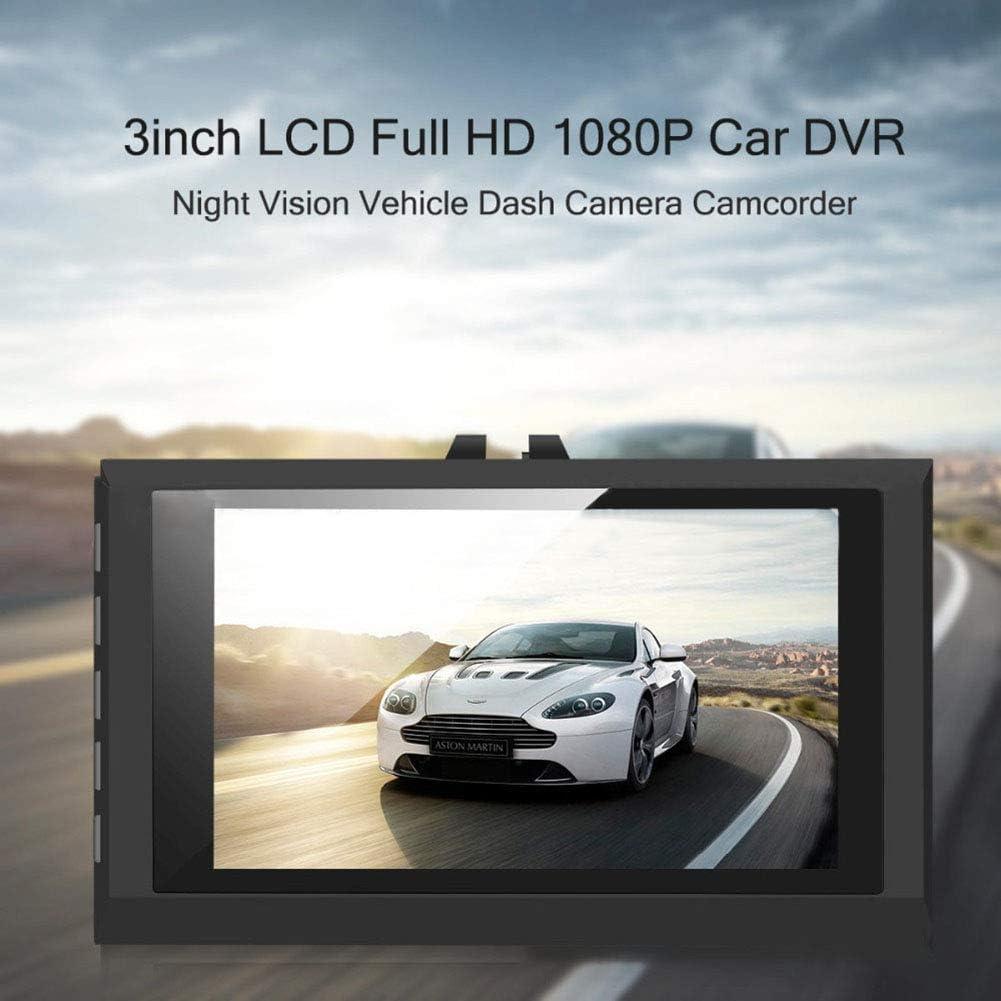 Grebest Car DVR Car DVR Car DVR 3 Inch Auto Car DVR Dash Cam Night Vision Camera HD Driving Recorder with HDMI Black