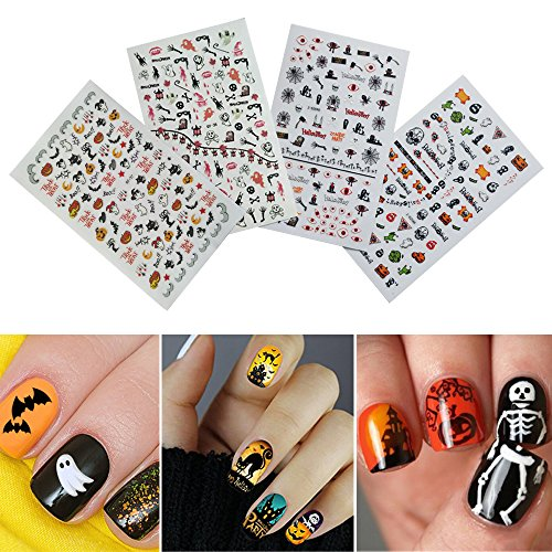 Dadii Halloween Nail Stickers Art Tattoo Decals Self-adhesive Sticker Nail Wraps with Halloween Designs (4 sheets) (Halloween Nail Polish Designs)