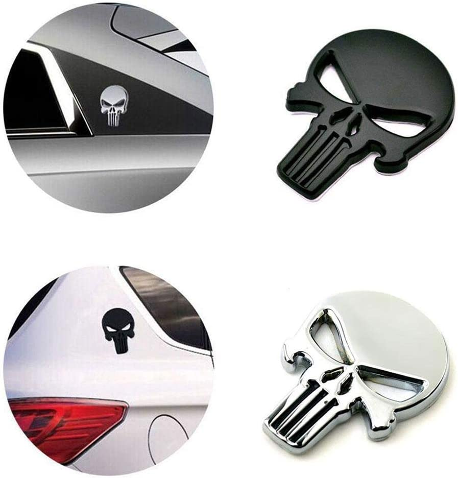 Motorcycle Luggage Cars Adornment Metal Sticker Decals for Cars Laptop Vehicle BOLLAER 3D Metal Skull Punisher Emblem Sticker 2-Pack Trucks