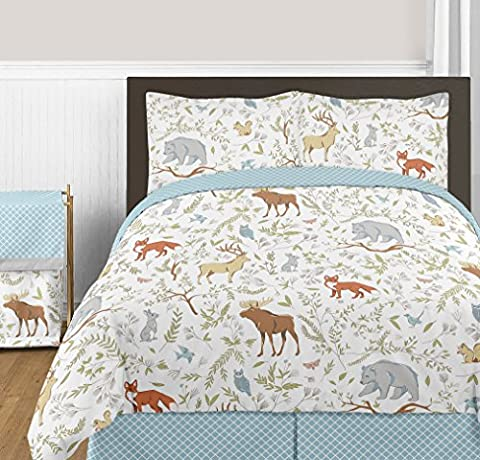 Blue, Grey and White Woodland Deer Fox Bear Animal Toile 3 Piece Girl or Boy Full / Queen Bedding Childrens Bedding - Juvenile Bedding