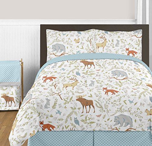 Blue, Grey and White Woodland Deer Fox Bear Animal Toile 3 Piece Girl or Boy Full / Queen Bedding Childrens Bedding Set