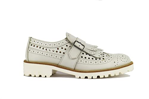 Chiarini Zapatos Piel Cordones De Bologna Mujer Blanco Para EYDIe29bHW