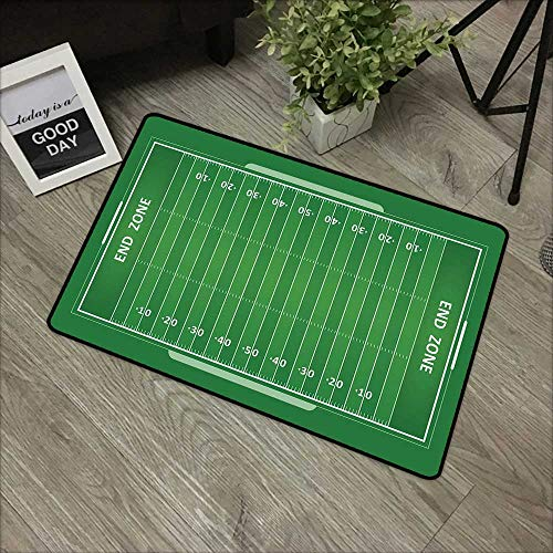 (Children's mat W16 x L24 INCH Football,Field of The Game Strategy Tactics End Zone Touchdown Sports Competition Theme,Green White Easy to Clean, no Deformation, no Fading Non-Slip Door Mat Carpet)