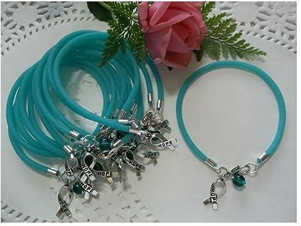 Amazon Com 1 Dz Ovarian Cancer Trigeminal Neuralgia Pkd Awareness Bracelets Teal Round Bead Arts Crafts Sewing