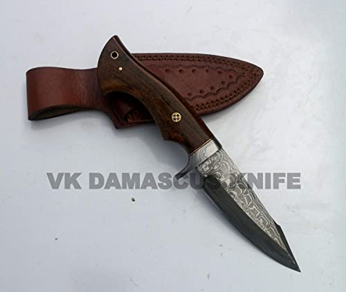 dw2533 Handmade Damascus Steel Hunting Knife Ladder Pattern comes with leather sheath 10 Inches