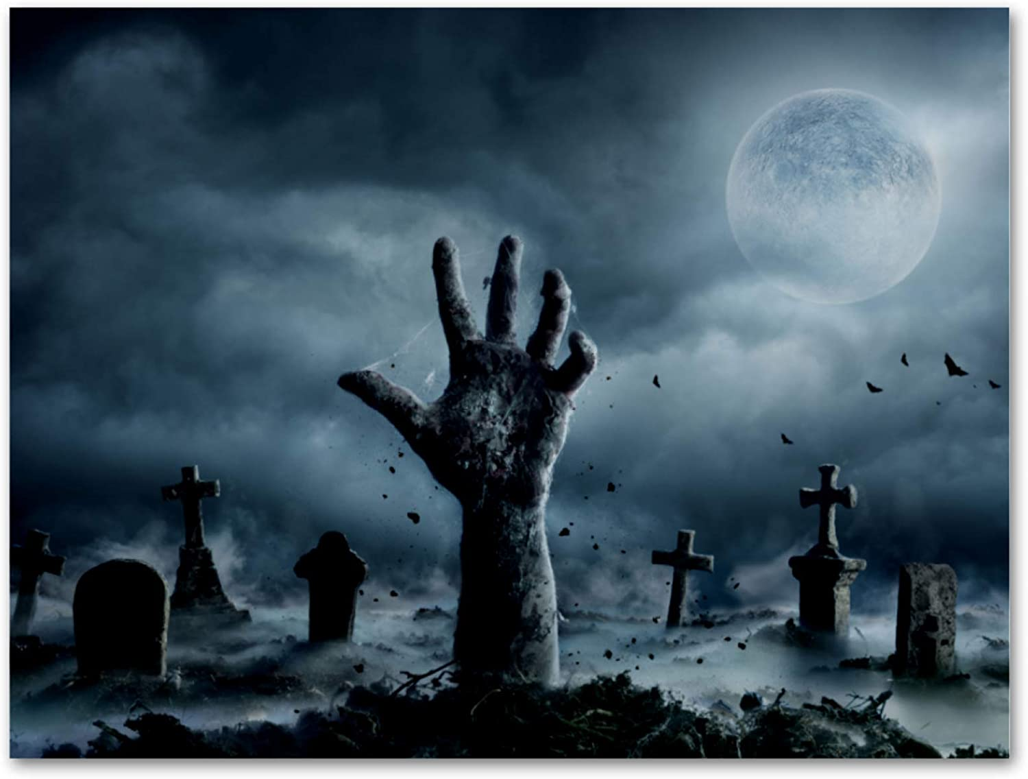 imobaby Oil Painting on Canvas Zombie Hand Rising Out Of Graveyard In Spooky Night Prints with Wooden Frame for Bedroom Home Living Room Office Modern Wall Art Decor, 11.8x17.7 in